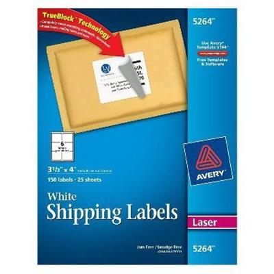 Avery Dennison 5264 Laser Address Labels on Smooth Feed Sheets