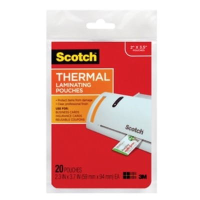 3M TP5851-20 Scotch Thermal Laminating Pouches Business Card 2.36in x 3.74in 20/pack