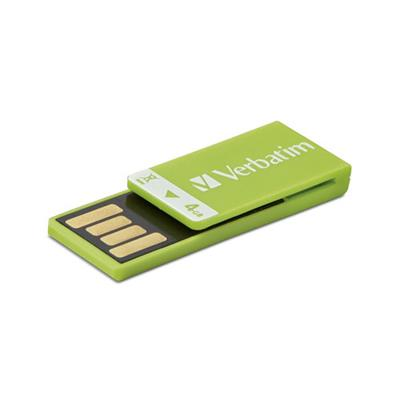 Verbatim 97556 4GB Clip-it USB 2.0 Flash Drive - Green