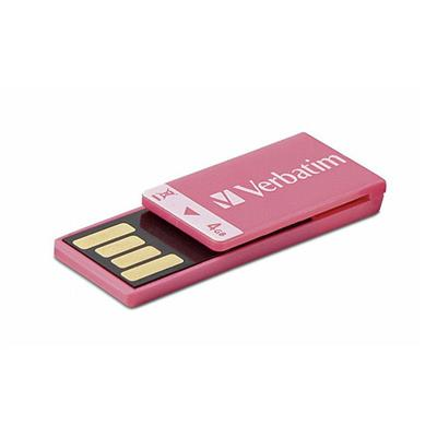 Verbatim 97549 4GB Clip-it USB 2.0 Flash Drive - Pink