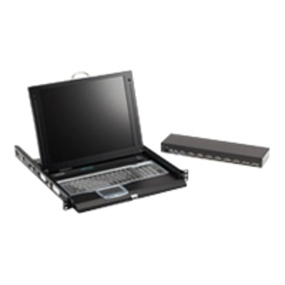 Black Box KVT417A-8UV-R2 ServTray Complete KVT417A - KVM console with KVM switch - 8 ports - 17 - rack-mountable - 1280 x 1024 - 450:1 - VGA - 1U