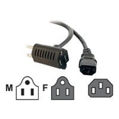 Cables To Go 30537 1.5ft 16 AWG Universal Power Cord With Extra Outlet - Power cable - IEC 60320 C13 to NEMA 5-15 - 1.5 ft - molded - black