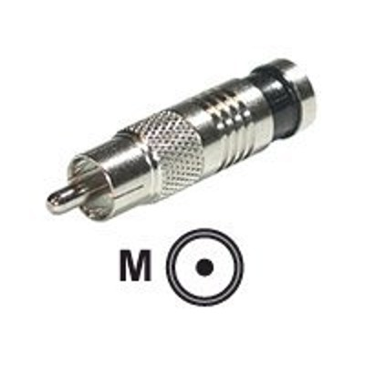 Cables To Go 41119 Compression RCA-Type Connector for RG6 - Video / audio connector - RCA (M) - chrome (pack of 10)