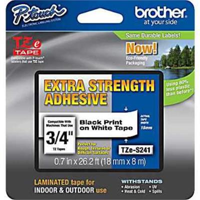 Brother TZES241 TZeS241 18mm (0.7) Black on White Tape with Extra Strength Adhesive 8m (26.2 ft)