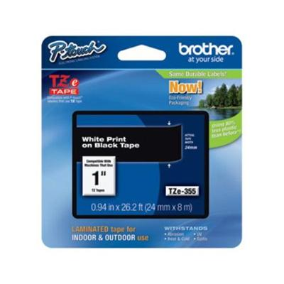 Brother TZE355 24mm (0.94) White on Black tape for P-Touch 8m (26.2 ft)