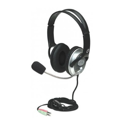 Manhattan 175555 Classic Stereo Headset Quality audio with Flexible Microphone Boom Black