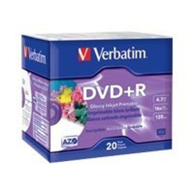 Verbatim 96122 20 x DVD+R - 4.7 GB (120min) 16x - white glossy - ink jet printable surface - slim jewel case