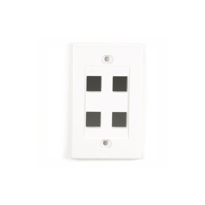 Black Box WPWH-4-5PAK Value Line - Wall plate - white - 1-gang - 4 ports (pack of 5)