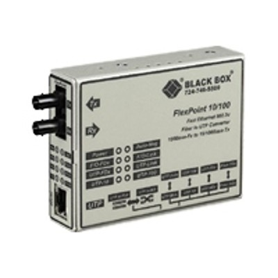 Black Box LMC213AE-MMST-R2 FlexPoint - Fiber media converter - 100Mb LAN - 100Base-FX 100Base-TX - ST multi-mode / RJ-45 - up to 1.2 miles - 1300 nm