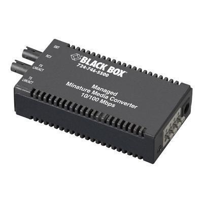Black Box LMM104A-R2 Managed Media Converter - Fiber media converter - Ethernet Fast Ethernet - 10Base-T 100Base-FX 100Base-TX - RJ-45 / SC single-mode - up