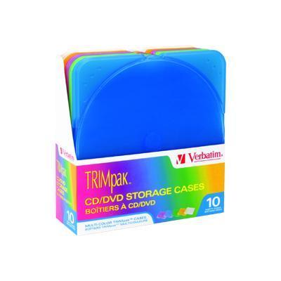 Verbatim 93804 TRIMpak 10 pack of mulit-colored slim jewel cases
