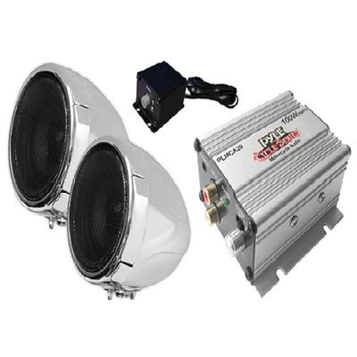Pyle Plmca20 100-Watt Motorcycle Mount Amp With Dual Weatherproof Speakers & Ipod(R)/Mp3 Input 268950108