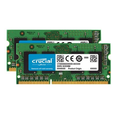 Crucial CT2KIT51264BF160B 8GB Kit (4GBx2) DDR3 1600 MT/s (PC3 - 12800) CL11 SODIMM 204-Pin 1.35V/1.5V Notebook Memory Modules