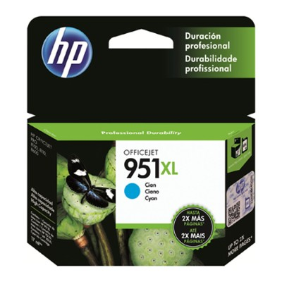 951XL Cyan Officejet Ink Cartridge - can be used with the HP Officejet Pro 8600 series