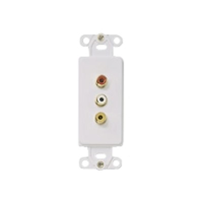 Cables To Go 03954 Composite Video and RCA Stereo Audio Solder Type Decorative Style Wall Plate - Ivory - Modular insert - RCA X 3 - ivory