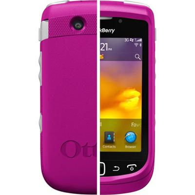 BlackBerry Torch 9800/9810 Commuter Series Strength Case - Hot Pink Plastic / White Silicone