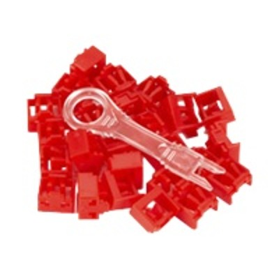 Black Box PL-AB-RD-25PAK Port Lock 25 Pack & Key Red