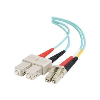 C2G 11007 3m LC-SC 10Gb 50/125 OM3 Duplex Multimode Fiber Optic Cable (TAA Compliant) - Aqua - Patch cable - SC multi-mode (M) to LC multi-mode (M) - 10 ft - fi