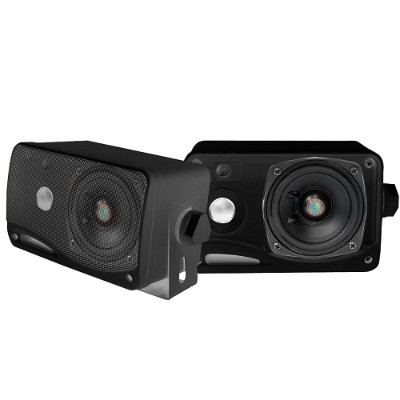Pyle PLMR24B 3.5'' 200 Watt 3-Way Weather Proof Mini Box Speaker System - Black