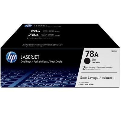 78A Black Dual Pack LaserJet Toner Cartridge with Smart Printing Technology