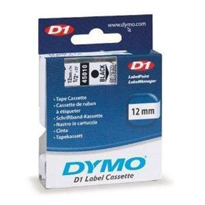 1/2 (12 mm) x 23' Polyester D1 Tape  Black on Clear