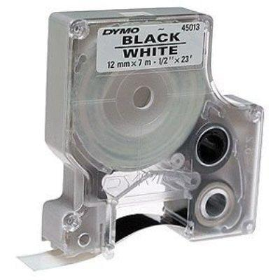 1/2 (12 mm) x 23' Polyester D1 Tape  Black on White