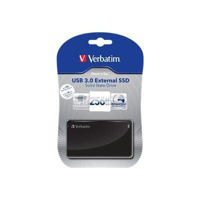 Verbatim 47623 Store 'n' Go External SSD - Solid state drive - 256 GB - external (portable) - USB 3.0 - sleek black