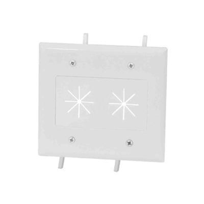 DataComm Electronics 45-0015-WH Cable Plate with Flexible Opening - Flush mount wallplate - white - 2-gang