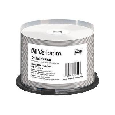Verbatim 43754 DataLifePlus Professional - 50 x DVD+R DL - 8.5 GB 8x - wide thermal printable surface - spindle