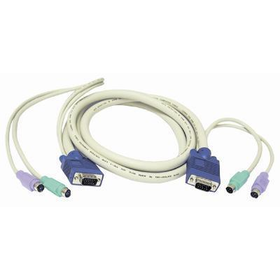 C2G 23473 6 ft. 3-in-1 Universal Hi-resolution PS/2 KVM Cable