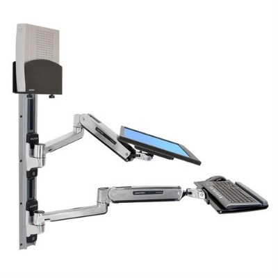 Ergotron 45-359-026 LX Sit-Stand Wall Mount System - Mounting kit (wall arm  CPU holder  mouse holder  2 track covers  keyboard arm  2 cable channels  wrist res