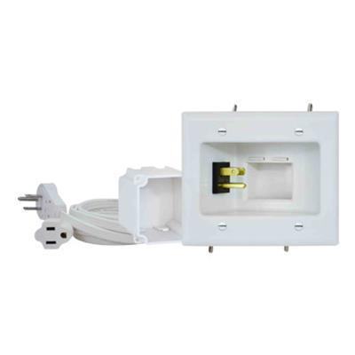 DataComm Electronics 45-0024-WH Recessed Pro-Power Kit with Duplex Receptacle and Straight Blade Inlet - Mounting plate - white