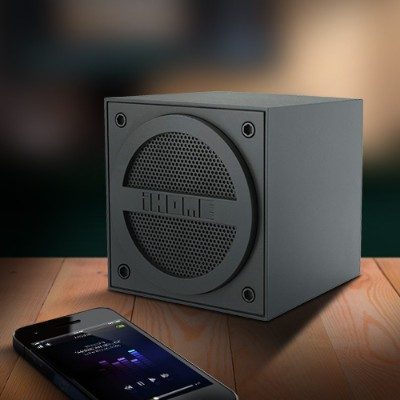 iHome IBT16GC Bluetooth Rechargeable Mini Speaker Cube in Rubberized Finish - Black