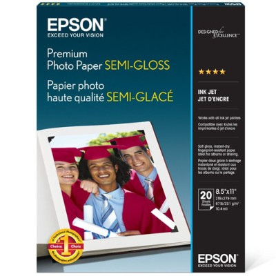 Epson S041331 8.5 x 11 Premium Photo Paper  Semi-gloss - 20 Sheets