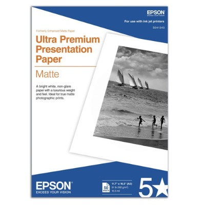 Epson S041343 11.7 x 16.5 Ultra Premium Presentation Paper Matte - 50 Sheets
