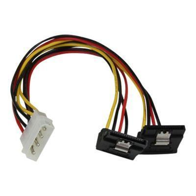StarTech.com PYO2LP4LSATR 12IN LP4 TO 2X RIGHT ANGLE LATCHING SATA POWER Y CABLE SPLITTER - 4 PIN MOLEX TO DUAL SATA
