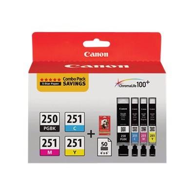Canon 6497B004 PGI-250/CLI-251 4 Color Combo Pack - 4-pack - yellow  cyan  magenta  pigmented black - original - ink tank / paper kit - for PIXMA iP87