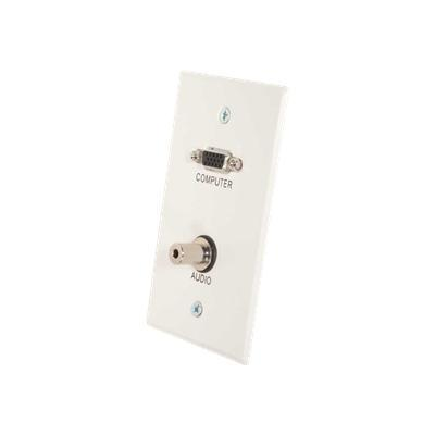 Cables To Go 41024 Single Gang HD15 VGA + 3.5mm Wall Plate - Mounting plate - RCA X 3 - white brushed aluminum - 1-gang