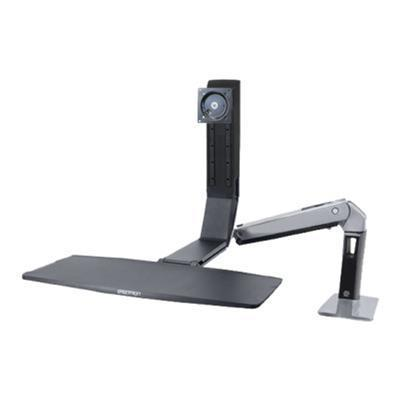 Ergotron 24-313-026 WorkFit-A Single LD - Stand (tray  articulating arm  desk clamp mount  pivot) for LCD display / keyboard / mouse - black  polished aluminum