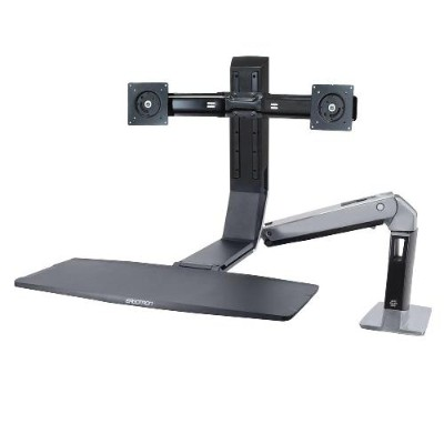 Ergotron 24-312-026 WorkFit-A Dual - Stand (tray  desk clamp mount  pivot) for 2 LCD displays / keyboard / mouse - black  polished aluminum - screen size: up to