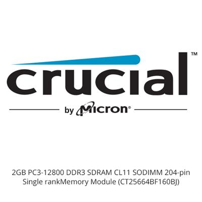 Crucial CT25664BF160BJ 2GB PC3-12800 DDR3 SDRAM CL11 SODIMM 204-pin Single rank Memory Module