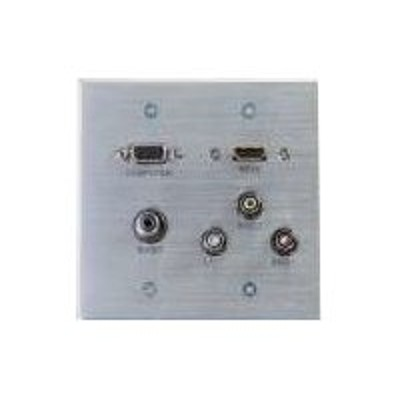 Cables To Go 39704 HDMI  VGA  3.5mm  Composite Video and Stereo Audio Pass-through Wall Plate - Mounting plate - HD-15  RCA X 3  mini-phone stereo 3.5 mm  HDMI