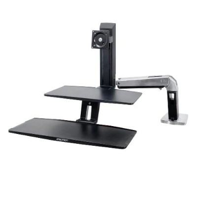 Ergotron 24-391-026 WorkFit-A with Suspended Keyboard  Single HD - Stand (tray  desk clamp mount  grommet mount  pivot  swing arm) for LCD display / keyboard -