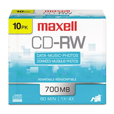 Maxell 630011 4x 700MB CD-RW Media (10-pack Slim Jewel Cases)