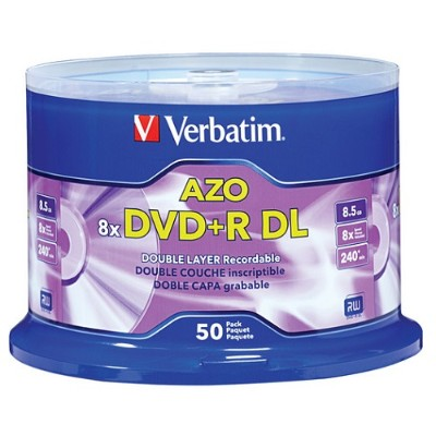 Verbatim 97000 DVD+R DL 8.5GB 8X with Branded Surface - 50pk Spindle