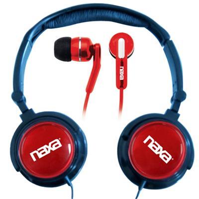 Naxa Electronics NE926RD DJZ Ultra Super Bass Stereo Headphones + Earphones (2-in-1 Combo) - Red