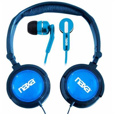 Naxa Electronics NE926BL DJZ Ultra Super Bass Stereo Headphones + Earphones (2-in-1 Combo) - Blue