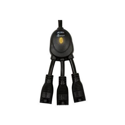 Accell D080B 019K PowerSquid Jr. Outlet Multiplier Power strip AC 125 V output connectors 3 36 in black