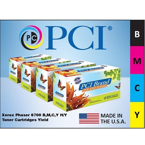 Premium Compatibles 6700CMYKHY-PCI Xerox 6700CMYKHY 4 Pack B M C Y Toner Cartridges for use in Xerox Phaser 6700 6700DN...