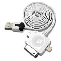 AeroVoice MobilAir Universal 3-in-1 Sync & Charge Cable with Lightning, 30-Pin & Micro-USB Connectors for Apple iPhone, iPad, Samsung Galaxy S4 & More - White